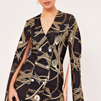 jenny black baroque print split sleeve blazer dress