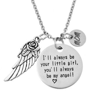LASPERAL 1PC Carved Letters Pendant Necklace With Little Round Wing Charms Love Necklaces Jewelry For Mom Fit Mother's Day Gift