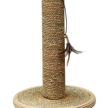 Pet Pals Seagrass Scratching Post with Feather Toy