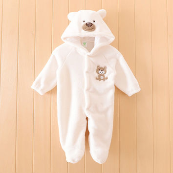 Boy Baby Animal Romper Infant Costume Hooded Flannel Cute Bear Infant Romper Toddler Jumpsuit Clothes Baby Cartoon Costume Suit