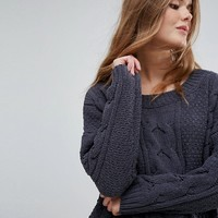 New Look Chenille Cable Oversized Sweater at asos.com