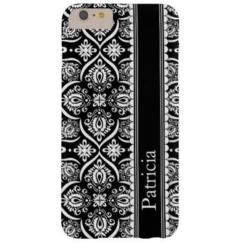 Black White Damask Pattern Personalized Name Barely There iPhone 6 Plus Case