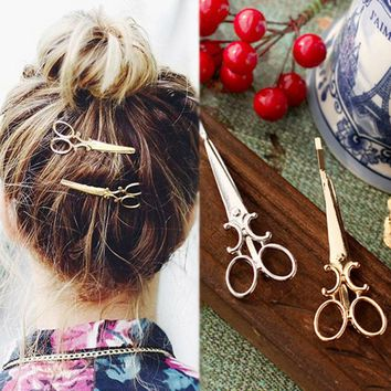 2Pcs Women Scissors Pattern Hair Pin Individuality Hair Clips Headpiece Punk Apparel Accessories Hair Jewelry Barrettes Cabelo