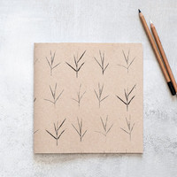 Large Notebook, Handmade Print Screen Journal with a Minimalist pattern, Square Recycled Sketchbook