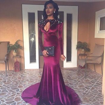 Gorgeous Burgundy Evening Dresses 2016 Formal Boat Neck Beaded with Rhinestones Mermaid Prom Dresss Long Sleeve Backless Cut Out