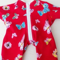"Clothes BUTTERFLY Red Pajamas Sleeper pjs Handmade For Bitty Baby 15"" Girl Doll"