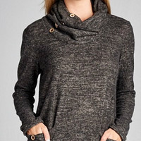 Cowl Neck Top with Button Detail - Charcoal