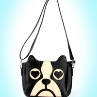 Pinup Girl Clothing- Dog Face Faux Leather Shoulder Purse | Pinup Girl Clothing