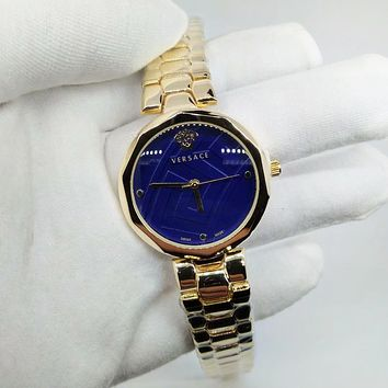 Versace Fashion New Blue Dial Golden Watchband Women Men Leisure Wristwatch Watch
