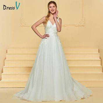 Dressv Ivory Long Wedding Dress V Neck Sleeveless Tulle Sweep Train Backless A Line Appliques Empire Simple Custom Wedding Dress