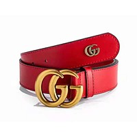 GUCCI Woman Men Fashion Smooth Buckle Leather Belt Red