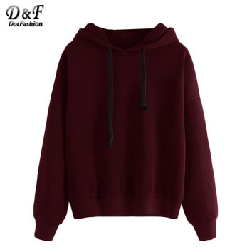 Burgundy Shoulder Hooded Pullovers Women Casual Wear Clothing Plain Long Sleeve Sweatshirt