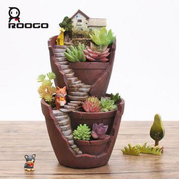 Roogo Creative Resin Flowerpot House Shaped Garden Pot Roogo New arrival Bonsai Plant Flower Pots For Succulent Planter lovers
