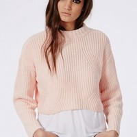 Missguided - Cropped High Neck Knitted Sweater Peach