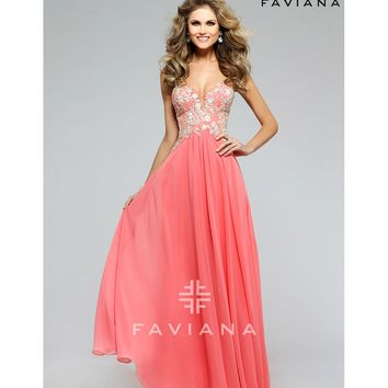 Preorder - Faviana s7325 Sorbet Pink Strapless Chiffon Long Dress 2016 Prom Dresses