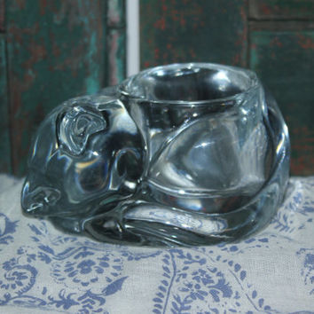 Sleeping cat Indiana Glass Co. candle holder - Glass kitten, glass collectibles, animal figurines, candles