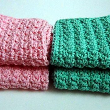 Pink and Green Washcloths, Crochet Dishcloths, Cotton Facecloths, Set of 4 Eco-Friendly Cleaning Cloths