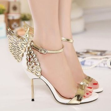 2017 Sophia Webster Butterfly Wings Women High Heels Bowtie Summer Shoes Sandals Woman Pointed Toe Ankle Strap Shoes Pumps 2365