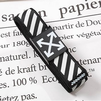 Off White Fashion New Stripe Arrow Print Leisure Canvas Belt 110cm Black