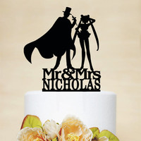 Wedding Cake Topper,Sailor Moon & Tuxedo Mask Silhouette,Custom Cake Topper,Mr And Mrs Cake Topper With Last Name C085