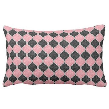 MQF Sequins-Dusty Pink-Black-White-LUMBAR PILLOW