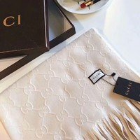 GUCCI Stylish Women Men Simple Cashmere Scarf Scarves Accessories White I-XLL-WJ