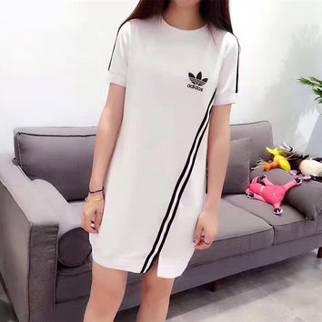 """Adidas"" Fashion Casual Stripe Round Neck Short Sleeve Medium Long section T-shirt Mini Dress"