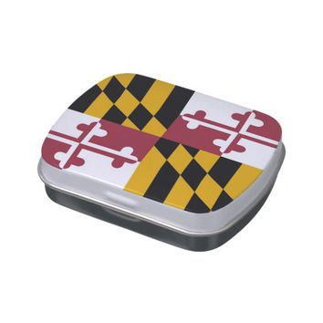 Patriotic candy tins with Flag of Maryland