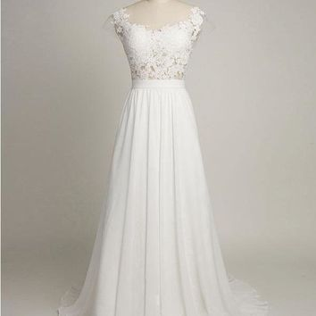 Simple Informal Wedding Dress Scoop Neck Appliques Lace Floor Length Chiffon Beach Wedding Dress