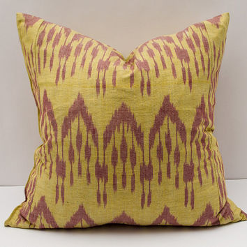 20x20, yellow burgundy ikat pillow cover. cotton ikat pillow cover, ikat cushion, decorative pillow