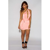 Jainmy's Multiway Convertible Wrap Mini Dress in Blush