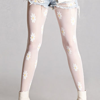 Sheer Daisy Applique Tights