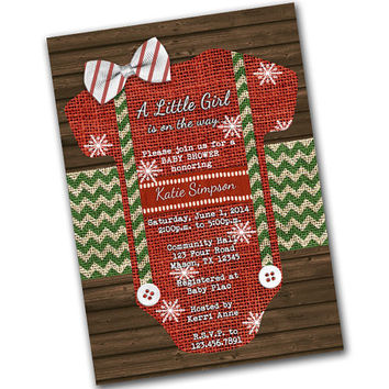 Christmas Baby Shower Invitations - Girl Romper Invitations - Little Girl Is On The Way - Burlap - Wood - Baby Shower Invite - Holiday
