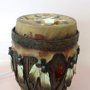 Native American Drum Table Fragrance Aroma Lamp Oil Diffuser Wax Tart Candle Warmer Burner Home Decor