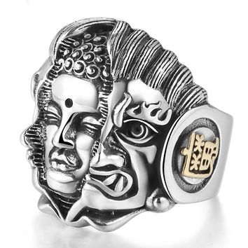 925 Sterling Silver Mens Rings Buddhist Pray Ring