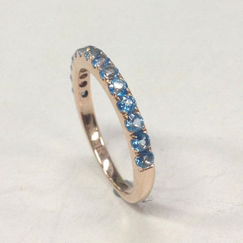 Topaz Wedding Ring,14K Rose Gold,2mm Round Cut Swiss Blue Topaz,Half Eternity Band,Anniversary Ring,Fashion Fine Ring,Stackable