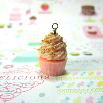 Cupcake Charm - Light Pink Cupcake with Gold Sprinkles Polymer Clay Pastry Food Jewelry