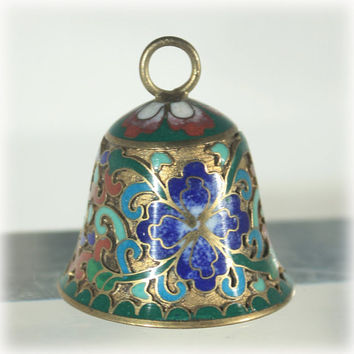 Brass, Cloisonne, Bell, Flower, Blue, Aqua, Asian