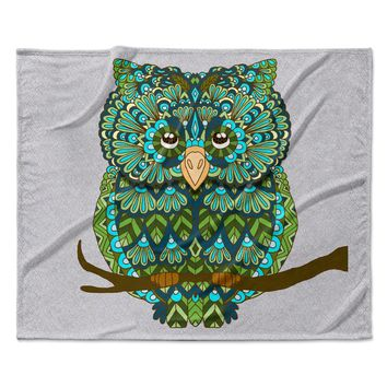 "Art Love Passion ""Great Green Owl"" Teal Gray Fleece Throw Blanket"