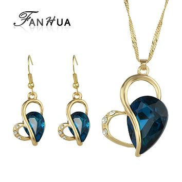 Jewelry Sets Gold-color Chain Colorful Crystal Heart Pendant Necklace Drop Earrings For Women