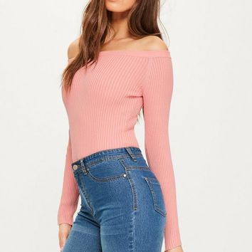 Missguided - Pink Ribbed Bardot Knitted Bodysuit