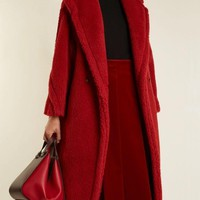 Red Faux Fur Pockets Buttons Turndown Collar Long Sleeve Coat