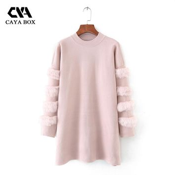CAYA BOX Autumn Long Sleeves sweater dress Rabbit Fur Jumpers Pull Women long Sweaters And Pullovers Clothing Femme dress