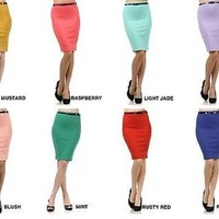 Career Belted High Waist Pencil Straight Stretch Slim Knee Length Bodycon Skirt