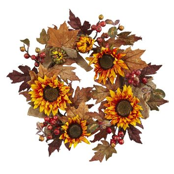 Artificial Fall Wreath -24 Inch Orange Sunflower And Berry Autumn Wreath