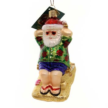 Old World Christmas SUNNING SANTA Glass Ornament Beach Sand Ocean 40295