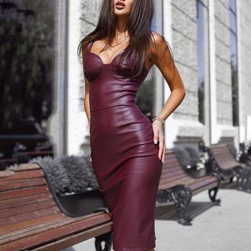 Spaghetti Strap Faux Leather  V Neck  Bodycon Slit Back Dress