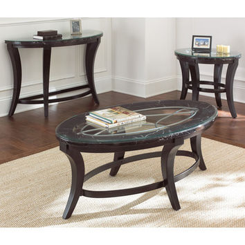 Steve Silver Cayman 3 Piece Coffee Table Set w/ Faux Marble & Glass Top