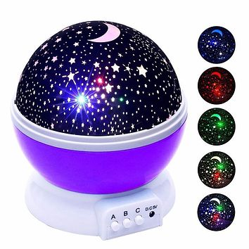 Stars Starry Sky LED Night Light Projector Luminaria Moon Battery USB Night Light for Children