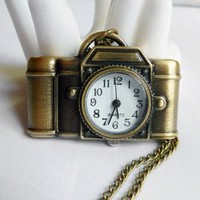 Retro Hot Sale Style Camera Shape Packet Watch Embellished Sweater Chain For Women
